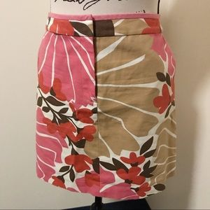 J. Crew Canvas Mini Skirt Floral Mod 60s Inspired